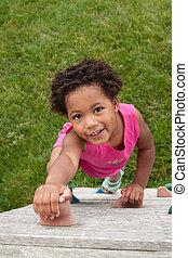meisje, climbing., jonge