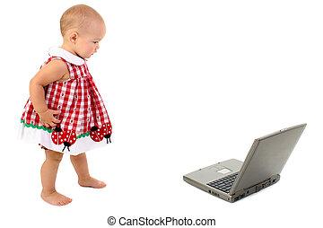 meisje, computer, baby