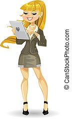 meisje, computer, blonde , tablet