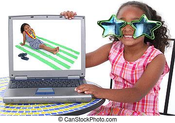 meisje, computer, kind