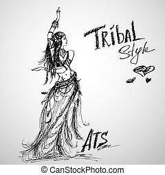 meisje, dancing, drawing., van een stam, hand