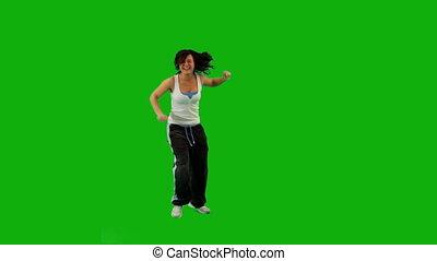 meisje, dancing, hip-hop., groene, scherm
