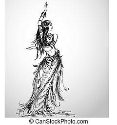 meisje, dancing, tekening, van een stam, hand