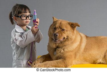 meisje, dierenarts, spelend, dog