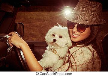 meisje, dog, auto