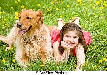meisje, dog, haar