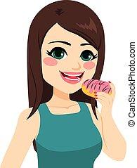 meisje, doughnut, vasthouden