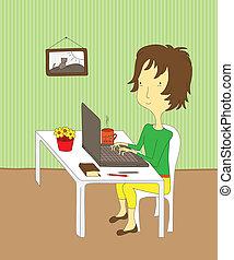 meisje, draagbare computer