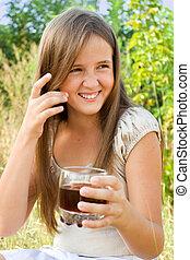 meisje, drank, zacht, jonge