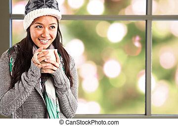 meisje, drinkende koffie