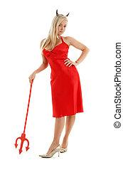 meisje, duivel, jurkje, rood, zich verbeelden