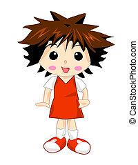meisje, eenvormige school, rood