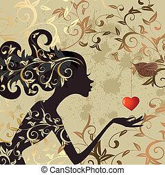 meisje, en, een, vogel, met, een, valentijn