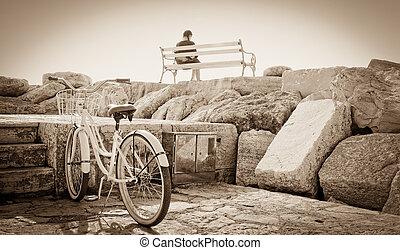 meisje, en, fiets
