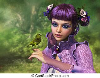 meisje, en, groene vogel, 3d, cg