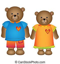 meisje, en, jongen, beer, met, kleren