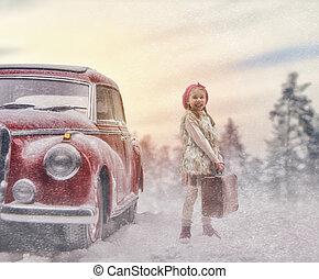 meisje, en, vintage auto