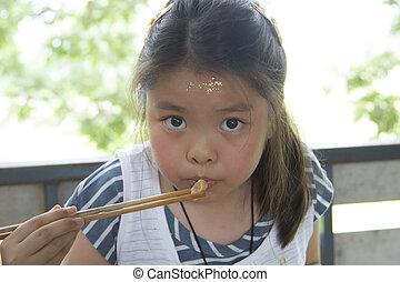 meisje, eten, meatball
