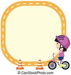 meisje, fiets, mal