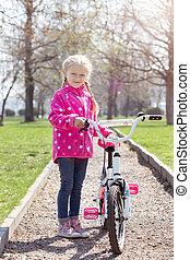 meisje, fiets