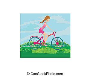 meisje, fiets, vrolijke , schattig, geleider