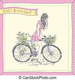 meisje, fietsende , kaart