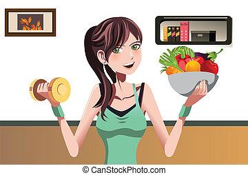 meisje, fitness