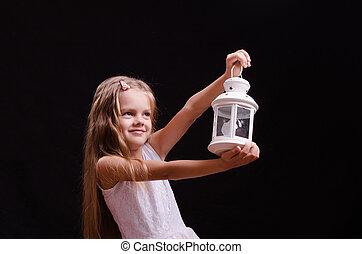 meisje, five-year, blaker, handen