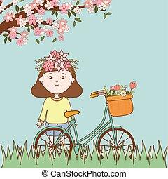 meisje, floral, fiets, ornament, hoofd