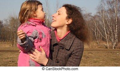 meisje, fondles, moeder