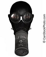 meisje, gasmask