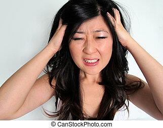 meisje, gefrustreerde, (headache), beklemtoonde
