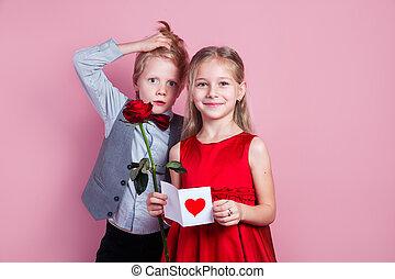 meisje, gekke , achtergrond, jaar oud, jongen, hand, zes, schattig, roze, valentine, haar, kaart