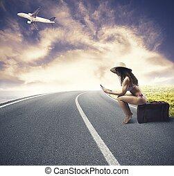 meisje, gereed, aan reis