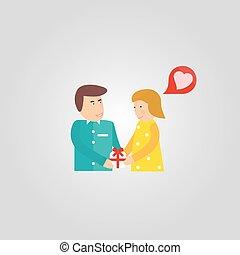 meisje, gift., jongen, spotprent, romantic., geven