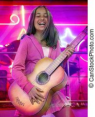 meisje, gitaar