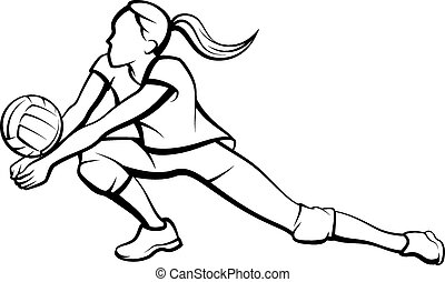meisje, graven, volleybal