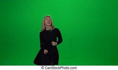 meisje, groene, screen., het dansen.