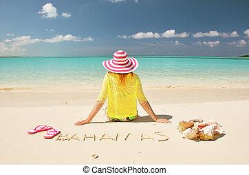 meisje, groot, bahamas, exuma, strand.