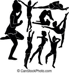 meisje, gymnast, atleet