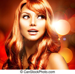 meisje, haar, lang, gezonde , rood, mooi