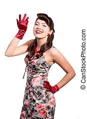 meisje, handschoenen, rood, vastspeldt-op