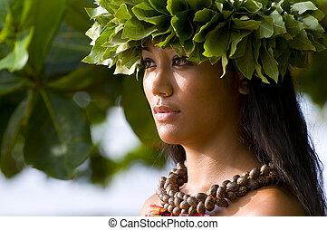 meisje, hawaiian, polynesiër