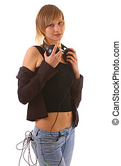 meisje, headphones, blonde