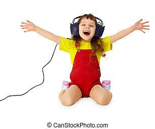 meisje, headphones, muziek, luistert, vrolijke