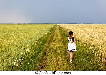 meisje, het genieten van, buitenshuis, beauty, natuur