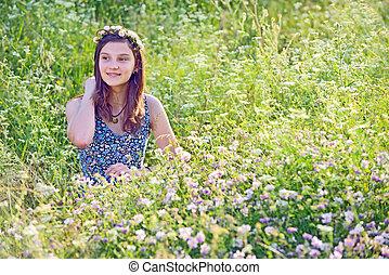 meisje, het genieten van, buitenshuis, natuur