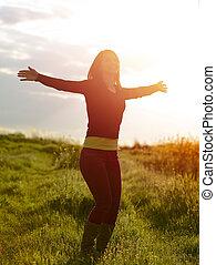 meisje, het genieten van, nature., beauty, buitenshuis