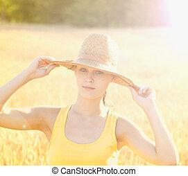 meisje, het genieten van, natuur