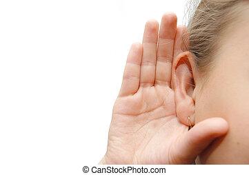 meisje, het luisteren, met, haar, overhandiig op, een, oor